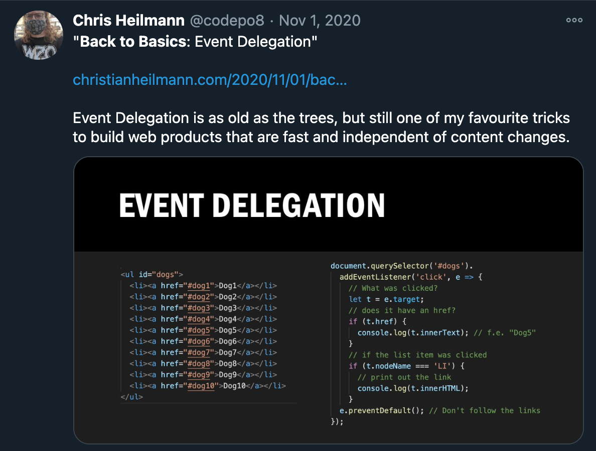 Screenshot of a tweet with code examples