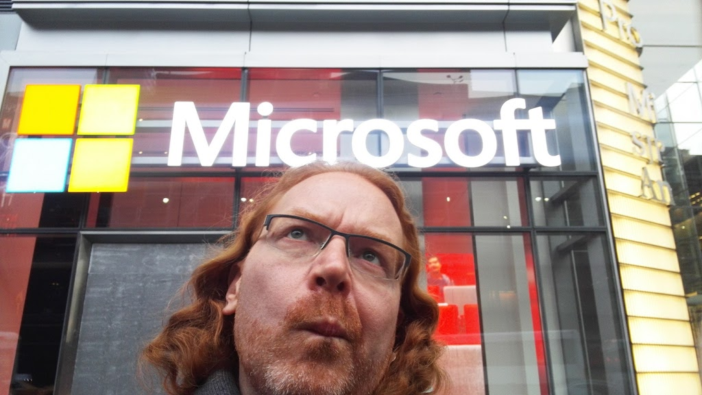Chris Heilmann looking up at the Microsoft logo