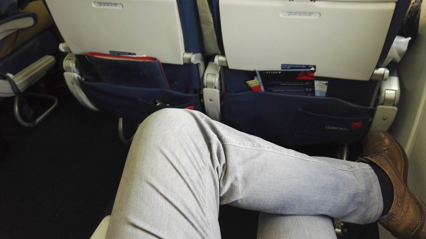 Sitting on a plane with just enough legroom